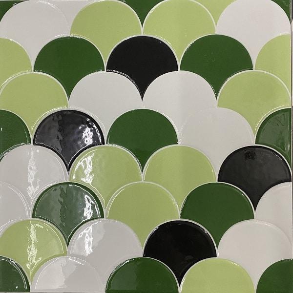 Gạch Vảy Cá Màu Xanh Lá Cây Giả Mosaic 30×30 Cm Giá Rẻ