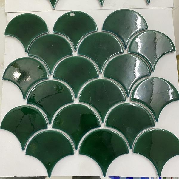 Gạch Mosaic Vảy Cá Màu Xanh Rêu Giá Rẻ Tp.HCM