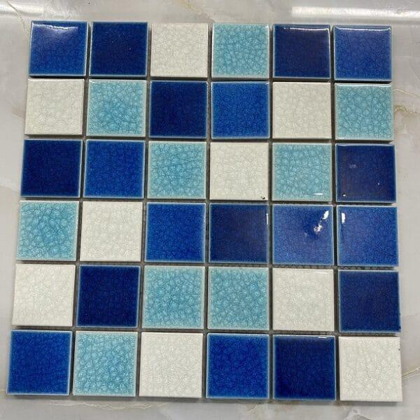 Gạch Mosaic Gỗm Men Hỗ Hợp 3 Màu Trắng Xanh