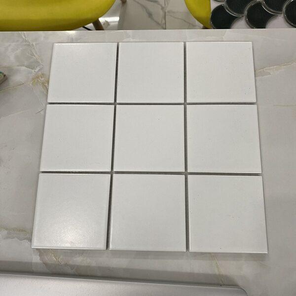 Gạch Mosaic Màu Trắng Mờ 10×10 Cm