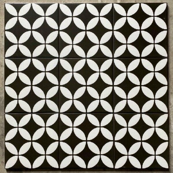 Gạch Bông 20×20 Cm Màu Trắng Đen Đồng Tiền