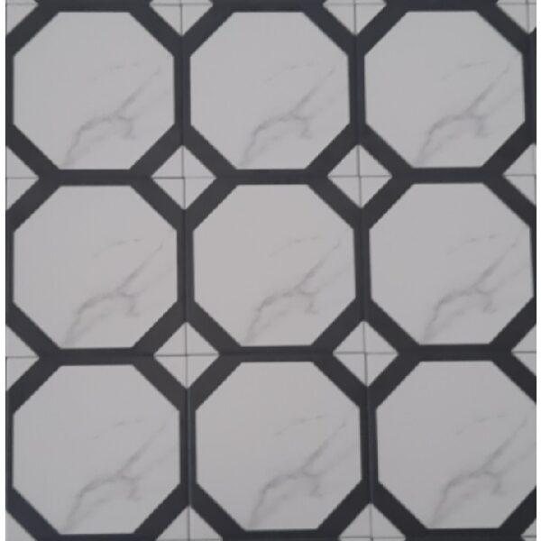 Gạch Bông Men 20×20 Hình Tròn Trắng Đen
