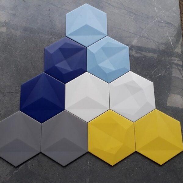 Gạch Lục Giác Màu Vàng – Màu Xanh Trắng Xám