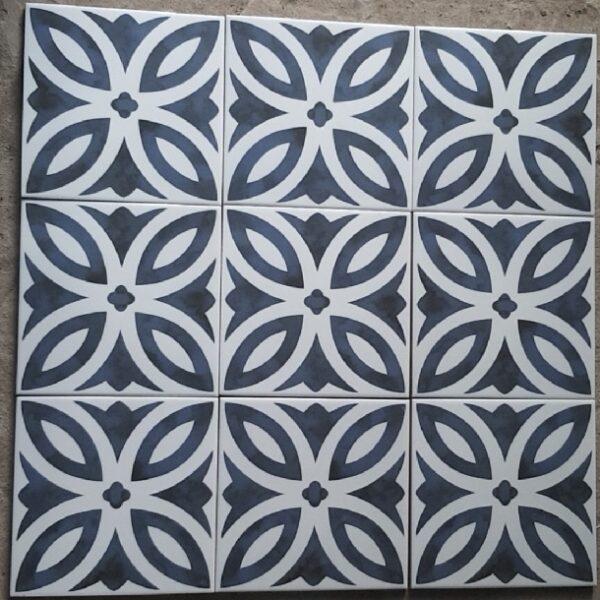Gạch Bông 20×20 Cm Hình Đồng Tiền Xanh