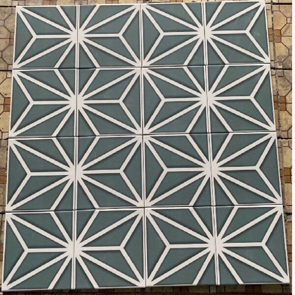 Gạch Bông Men Màu Xanh Tia Trắng 20×20 Cm