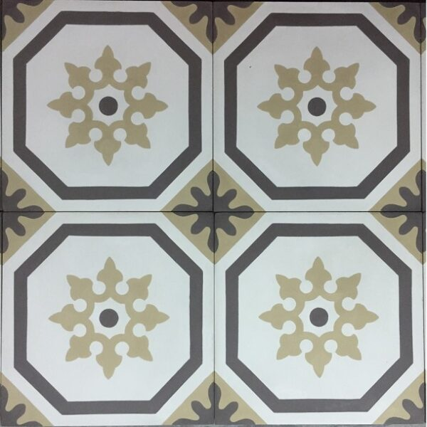 Gạch Bông Xi Măng Hoa Văn Màu Vàng Cổ Điển 20×20 Cm