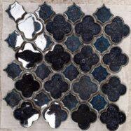 Gạch Mosaic Bông Hoa Màu Xanh Men Rạn