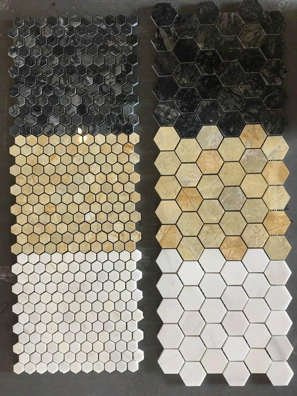 da mosaic hinh luc giac to ong mau vang
