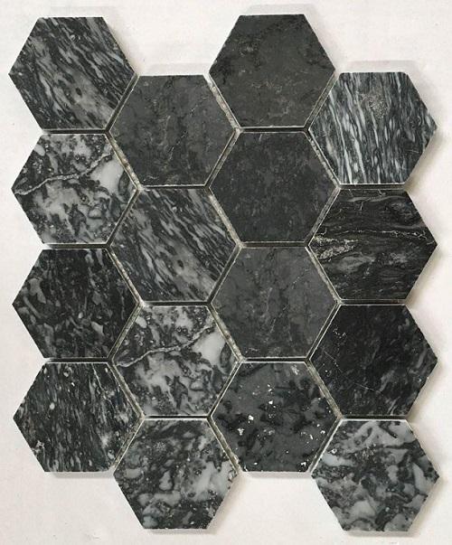 da mosaic hinh luc giac mau den van da marble