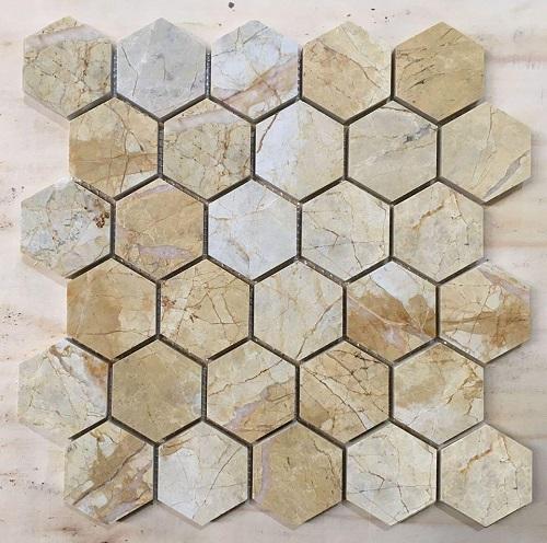 da mosaic tu nhien hinh luc giac da marble mau vang