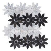 Gạch Đá Mosaic Hình Bông Hoa Trắng Đen