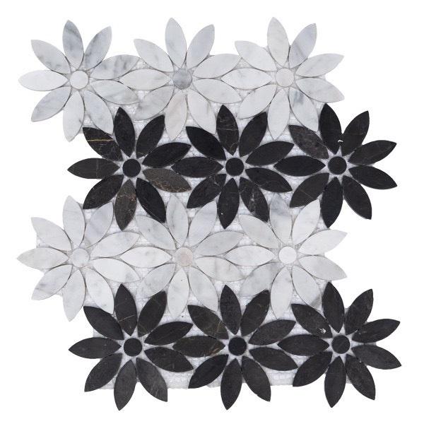 gach da mosaic hinh bong hoa mau trang den da tu nhien