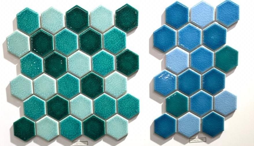 gach mosaic luc giac mau xanh men ran