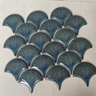 Gạch Vảy Cá Màu Xanh Men Rạn